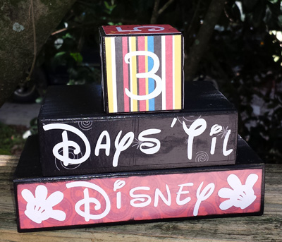 Disney Theme Vacation Countdown Number Blocks