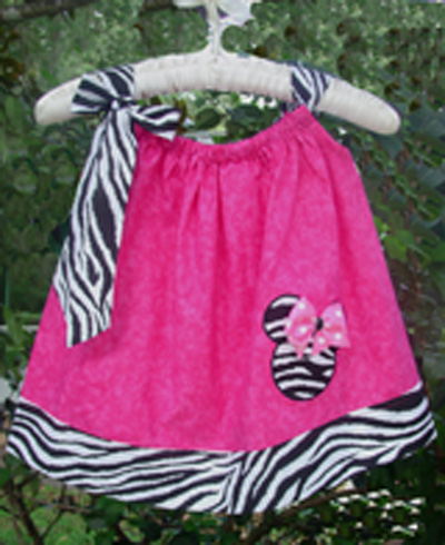 Minnie Mouse Pillow Case Dress-Zebra